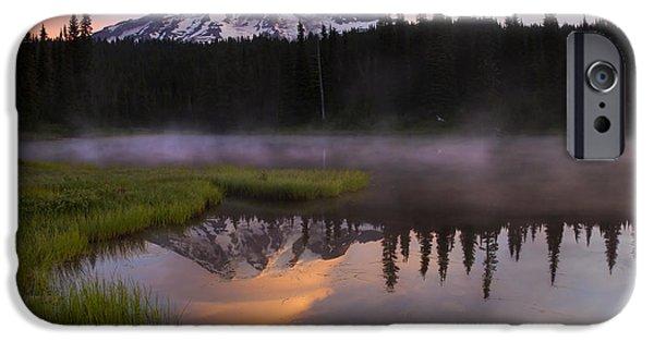 Mt Rainier iPhone Cases - Rainier Lenticular Sunrise iPhone Case by Mike  Dawson