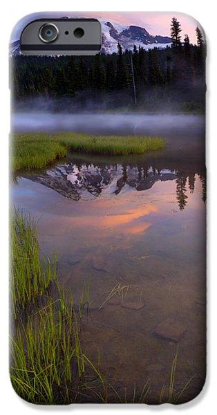 Rainier Sunrise Cap iPhone Case by Mike  Dawson