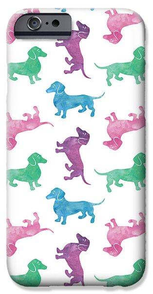 Dogs iPhone Cases - Raining Dachshunds iPhone Case by Antique Images
