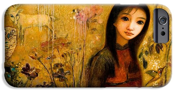 Young Mixed Media iPhone Cases - Raining Garden iPhone Case by Shijun Munns