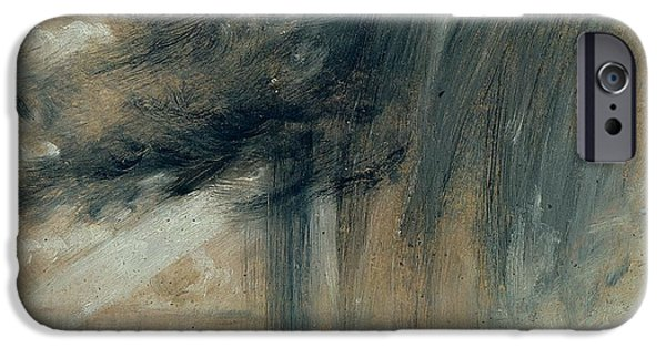 Rain iPhone Cases - Rainstorm over the Sea iPhone Case by John Constable