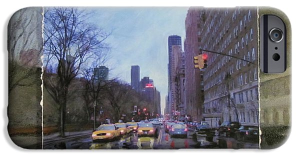 Buildings Mixed Media iPhone Cases - Rainy City Street layered iPhone Case by Anita Burgermeister