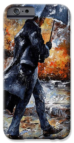 Umbrella Mixed Media iPhone Cases - Rainy day/07 - Walking in the rain iPhone Case by Emerico Imre Toth