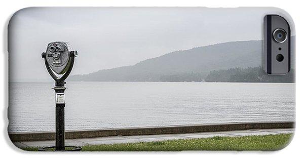 Rainy Day iPhone Cases - Rainy Day at Lake George iPhone Case by Valeriy Shvetsov