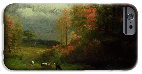 Hudson River iPhone Cases - Rainy Day in Autumn iPhone Case by Albert Bierstadt