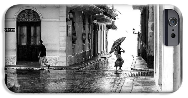 Rainy Day iPhone Cases - Rainy Day in Casco Viejo iPhone Case by John Rizzuto