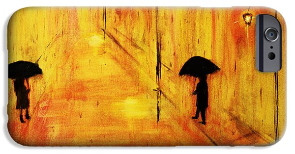 Rainy Day iPhone Cases - Rainy Day in Gold iPhone Case by Ken Figurski