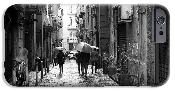 Rainy Day iPhone Cases - Rainy Day in Naples iPhone Case by John Rizzuto