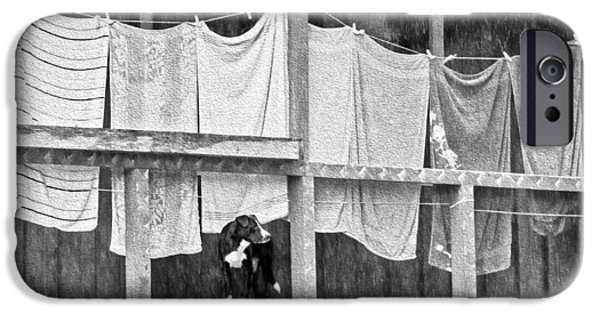 Rainy Day iPhone Cases - Rainy Day Laundry iPhone Case by Betty Denise