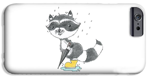 Forest iPhone Cases - Rainy Day Raccoon iPhone Case by Rachel Huddleston