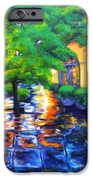 Raining iPhone Cases - Rainy Dutch Alley iPhone Case by Beverly Boulet