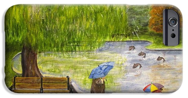 Willow Lake Paintings iPhone Cases - Rainy Lake iPhone Case by Olga Silverman