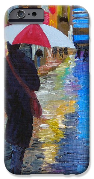 Rainy New York iPhone Case by Michael Lee