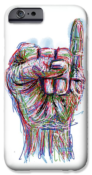 Abstract Digital Drawings iPhone Cases - Raised Pinky iPhone Case by Robert Yaeger