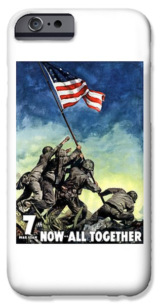States Mixed Media iPhone Cases - Raising The Flag On Iwo Jima iPhone Case by War Is Hell Store