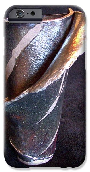 Ceramics iPhone Cases - Raku Slab Wrapped Vase iPhone Case by Carolyn Coffey Wallace