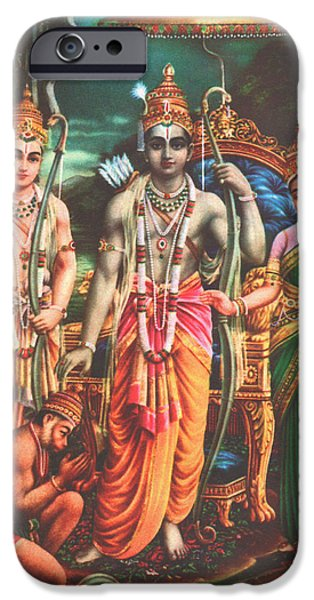 Hindu Goddess iPhone Cases - Ram Darbar Oil Painting Fine Artwork iPhone Case by A K Mundra