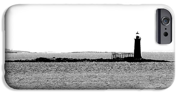 Ledge iPhone Cases - Ram Island Light house     iPhone Case by Victory  Designs