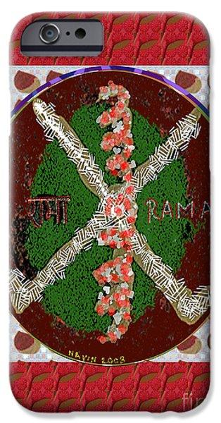 Serpent Mixed Media iPhone Cases - RAMA  Karuna Reiki Healing Symbol art buy posters greetings pillows duvet covers phone cases tote ba iPhone Case by Navin Joshi