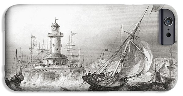 Port Town iPhone Cases - Ramsgate, Kent, England In The 19th iPhone Case by Ken Welsh