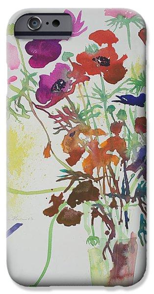 Pleasure Paintings iPhone Cases - Ranunculus and anemones iPhone Case by Simon Fletcher