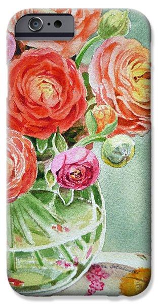 Glass Vase iPhone Cases - Ranunculus in the Glass Vase iPhone Case by Irina Sztukowski