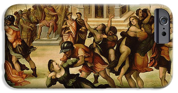 Abuse iPhone Cases - Rape of the Sabines iPhone Case by Girolamo del Pacchia