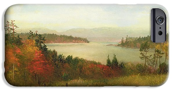Turning Leaves iPhone Cases - Raquette Lake iPhone Case by Homer Dodge Martin