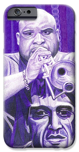 Player Drawings iPhone Cases - Rashawn Ross iPhone Case by Joshua Morton