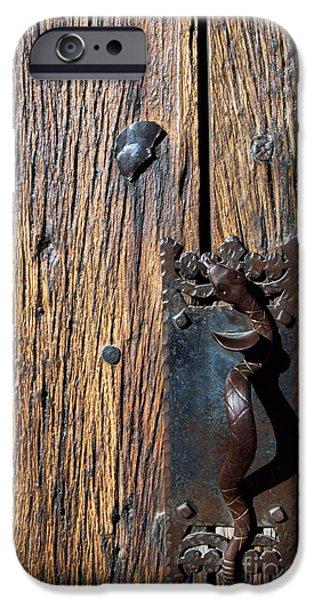 Rattlesnake Door handle Mission San Xavier del Bac iPhone Case by Thomas R Fletcher