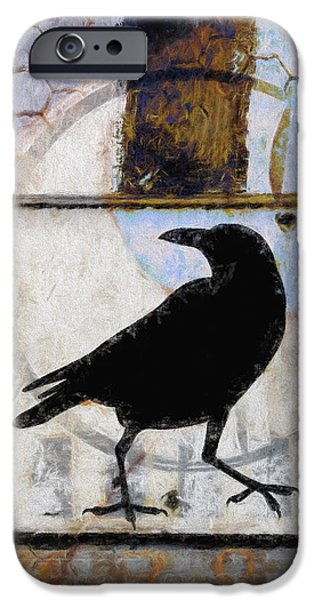Corvid iPhone Cases - Raven Ahead of Time iPhone Case by Carol Leigh