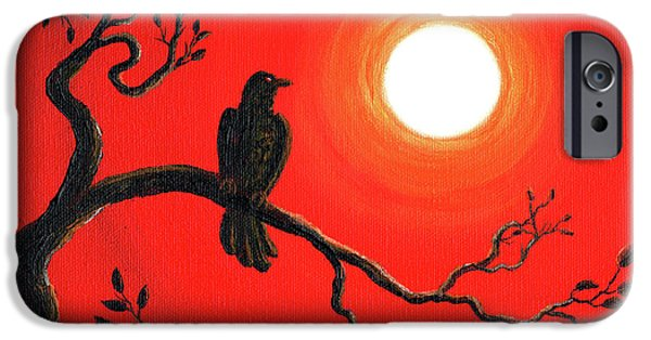 Crows Paintings iPhone Cases - Raven in Red iPhone Case by Laura Iverson