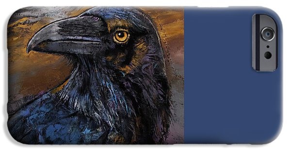 Michael Paintings iPhone Cases - Raven iPhone Case by Michael Creese