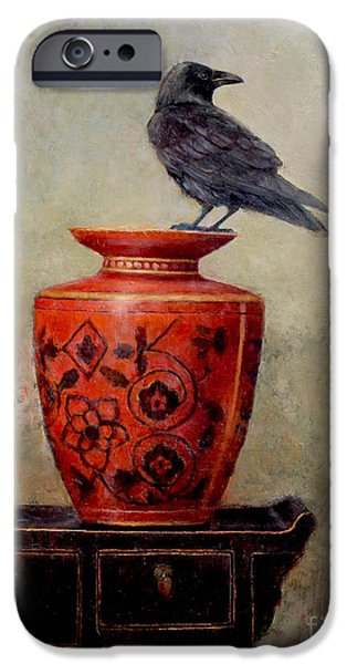 Crows iPhone Cases - Raven on Red  iPhone Case by Lori  McNee