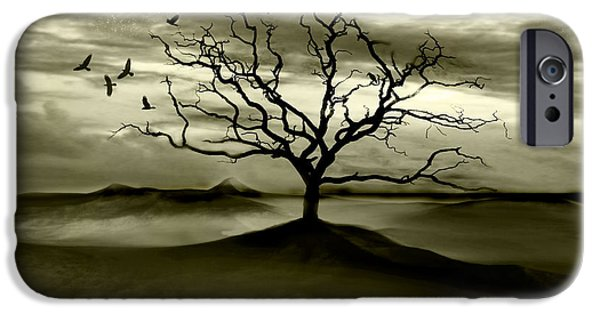 Surreal Landscape Digital iPhone Cases - Raven Valley iPhone Case by Photodream Art