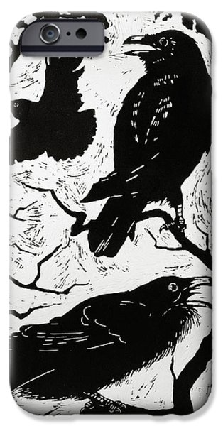 Crows Drawings iPhone Cases - Ravens iPhone Case by Nat Morley