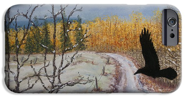 Autumn Landscape Pastels iPhone Cases - Ravens Thoughts Turned iPhone Case by Stanza Widen