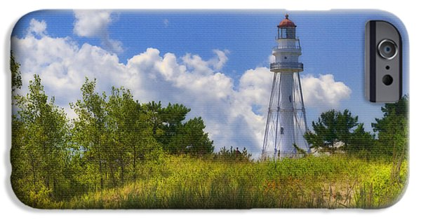 Chicago iPhone Cases - Rawley Point Lighthouse iPhone Case by Joan Carroll