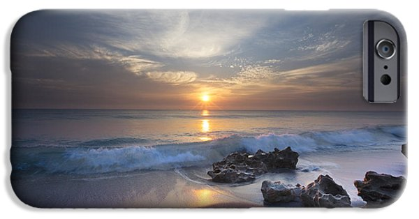 Ocean Sunset iPhone Cases - Rays on the Waves iPhone Case by Debra and Dave Vanderlaan