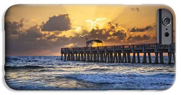 Sunset At The Lake iPhone Cases - Rays over the Pier iPhone Case by Debra and Dave Vanderlaan