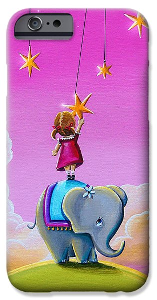 Elephant iPhone Cases - Reach For The Stars iPhone Case by Cindy Thornton