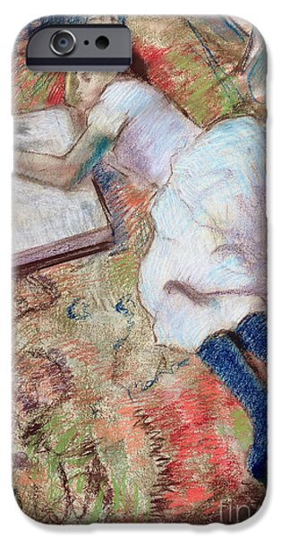 Lady Pastels iPhone Cases - Reader Lying Down iPhone Case by Edgar Degas