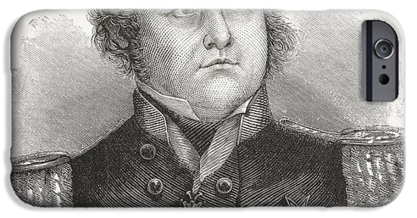 Franklin Drawings iPhone Cases - Rear-admiral Sir John Franklin, 1786 iPhone Case by Ken Welsh
