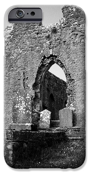 Headstones iPhone Cases - Rear Entrance Fuerty Church Roscommon Ireland iPhone Case by Teresa Mucha