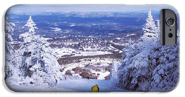 New England Snow Scene Photographs iPhone Cases - Rear View Of A Person Skiing, Stratton iPhone Case by Panoramic Images