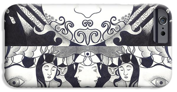 Crows iPhone Cases - Recalling The Goddess 1 iPhone Case by Helena Tiainen