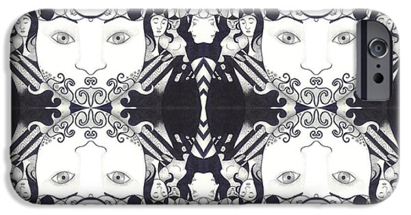 Crows iPhone Cases - Recalling The Goddess 2 Tile iPhone Case by Helena Tiainen
