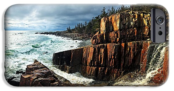 Rocky Maine Coast iPhone Cases - Receding Storm iPhone Case by Bill Caldwell -        ABeautifulSky Photography