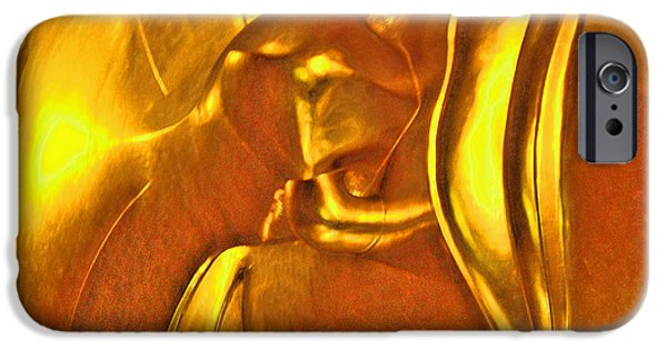 Elephants iPhone Cases - Reclining Buddha. Thaisq. Siam Texture. iPhone Case by Andy Za