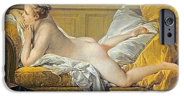 Thinking iPhone Cases - Reclining Nude iPhone Case by Francois Boucher